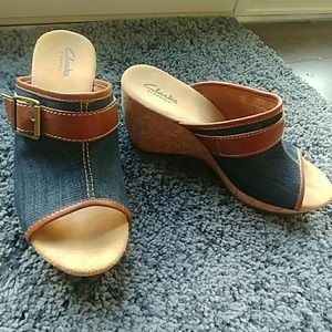 Clarks cork and jean wedges